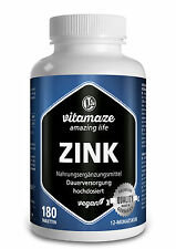 (€11,09/100g) Zink Tabletten hochdosiert 25 mg Zinc vegan für Haut & Haar Nägel