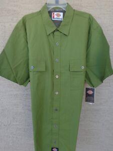NWT Mens Dickies 2X Slim Fit   L/S  Cotton  Metal Buttons Shirt Green