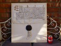 c1558 Elizabeth I Great Seal of MARY Tudor  THURLAND CASTLE Manuscript Document