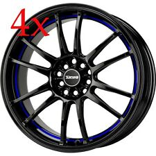 Drag Wheels DR-38 17x7 4x100 4x114 Black w/ Blue Stripe Rims For Celica Prelude