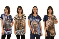 Caroline Morgan Women Casual Summer Animal Loose Tops Cat Dog Tiger Plus Size