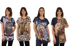 Caroline Morgan Women Casual Summer Animal Loose Tops Cat Dog Tiger Plus Size