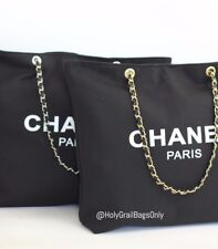 Chanel VIP Canvas Tote - Beauty Gift Tote Canvas Gold Hardware Chain Straps