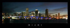 Poster Panorama Miami Skyline Sunset Panoramic Print Dodge Island Blue Bridge