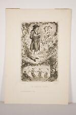 Gravure XIX°S le dahlia bleu, lecteur champêtre ronde jeunes filles Ch. Béranger