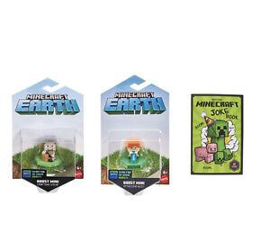 2 x Minecraft Earth Boost Mini Figures (Steve, Alex) + Minecraft Joke Book NEW