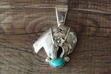 Navajo Sterling Silver Turquoise Arched Bear Pendant - JH