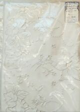 Pair of Hand Embroidered 100% Cotten Pillowcases, White on White, NOS