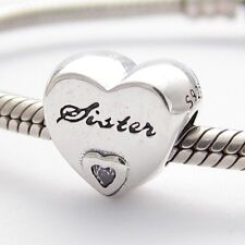 BEST SISTER HEART CHARM Bead Sterling Silver.925 For European Bracelet 558