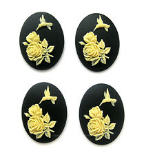 4 IVORY Color on Black HUMMINGBIRD & ROSES Rose Flowers 40mm x 30mm Craft CAMEOS