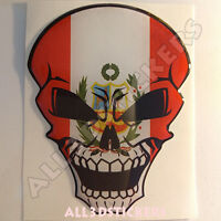 Pegatina Calavera Bandera Peru Adhesivo Relieve Coche Moto Skull Tablet 3D
