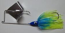(1) 3/8 Oz. Custom Topwater Buzzbait Lure-(S. Blue/Chart. Tips)-Bass Fishing-NEW