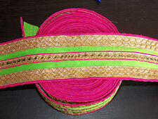 lime pink gold sequin ethnic embroidered ribbon applique motif trimming decor