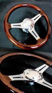 14 Inch Chrome Polished Steering Wheel Dark Wood 3-Spoke