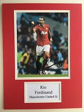 """Manchester United Rio Ferdinand Signed 16"""" X 12"""" Double Mounted Display"""