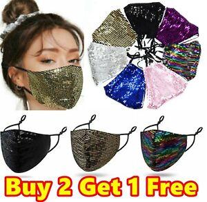 Sparkle Glitter Sequin Face Cover Mask Reusable Washable Adjustable Nose Shimmer
