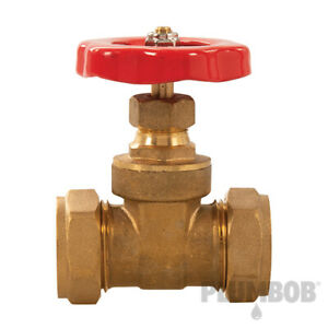 Gate Valve Durable Brass Construction with Compression Fittings 22mm