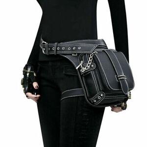 Womens Bag Steampunk Vintage Rock Gothic Punk Waist Leg Hip Bum Pack PU Leather