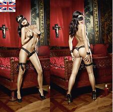 Le donne Donna Sexy Lingerie Nero Love SLAVE Set cinquanta Tonalità Manette #B 173