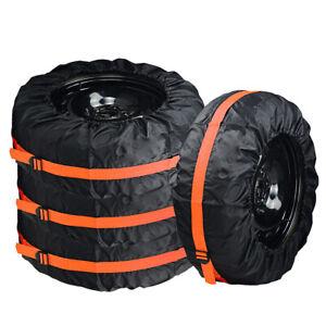 4pcs Spare Tire Case Storage Bag Universal Wheel Cover Protector Automobile Part