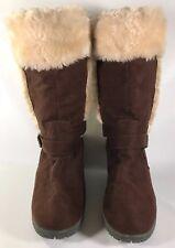 American Eagle Wedge Heel Winter Boots Size 9 Faux Suede Faux Fur Dark Brown