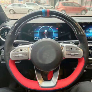 carbon fibre leather DIY Hand sewing Steering Wheel Cover for Benz series
