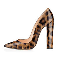 Onlymaker Womens Leopard High Heels Pointed Toe Block Chunky Work Shoes US5-US15