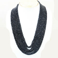 420.00 Cts Earth Mined 10 Strand Black Spinel Round Cut Beads Necklace NK 64E36