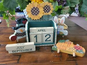 Vintage Wooden Perpetual Calendar with Country Seasonal Additions
