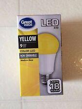 BUG light! YELLOW Color LED 60W = 9W 60 Watt Equivalent A19 Light Bulb