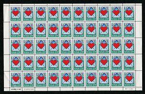 US Scott 2618 LOVE 29c. Mint NH sheet of 50