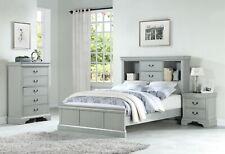 Grey Wooden birch Veneer Cal king Size Bed Bedroom 4pc Set Chest 2x Nightstands