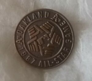 """1987 Oakland A's """"Jostens"""" Beautiful Vintage Rare All Star Game Press Pin."""
