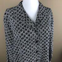 Karen Scott Long Sleeve Top Blouse Plus Size 1X Black White, Geometric Pattern