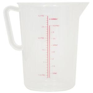 Plastic Measuring Jug Kitchen Bar Polypropylene Measuring Jug 1L, 2L, 3L, 5L