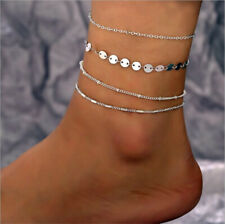 4pcs Simple Women Silver Ankle Bracelet Anklet Chain Foot Statement Jewelry Set