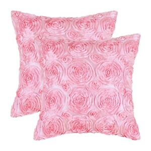 2Pcs Candy Pink Cushion Covers Cases Shells Couch Sofa Home Roses Florals 18x18""