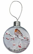 Snow Robin 'Love You Mum' Christmas Tree Bauble Decoration Gift, AB-R23lymCB
