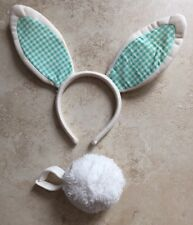 M&S GREEN GINGHAM-LINED EASTER BUNNY RABBIT EARS HEADBAND FLUFFY TAIL AGE 3-6