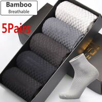 1/5Pair Men Bamboo Fiber Breathable Casual Business Toe Boot Cotton Work Socks
