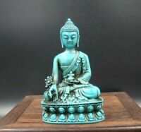Collectible china Old Decorated Turquoise Sakyamuni Medicine Buddha Statue