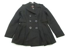 MISS SIXTY Jacket Women's Size Petite L Button-Front Wool Black Peacoat #K1727
