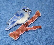 Blue Jay Bird Magnet. Decoration Finished Cross Stitch Handmade New