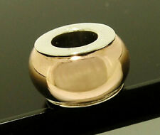 s Bd01 Genuine 9ct Rose Gold & Sterling Silver Bead Charm Two-Tone Gold
