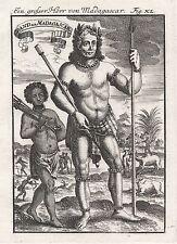 1685 grand seigneur de Madagascar 17th siècle GRAVURE PRINT Mallet