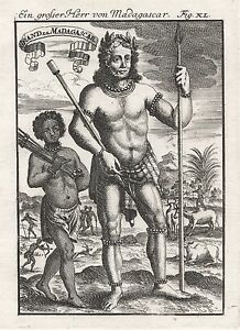 1685 Great Lord of Madagascar 17th Century Engraving Print Mallet