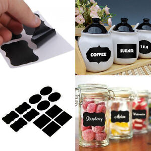36pcs Black Bottle Sticker Label Chalkboard Tag for Jars Pantry Canister Kitchen