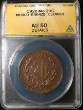 1920-Mo Mexican 20 Centavos Graded by ANACS as an AU-50 Details-Cleaned!