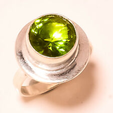 Faceted Peridot Topaz Gemstone 925 Sterling Silver Jewelry Ring Size 7 4142