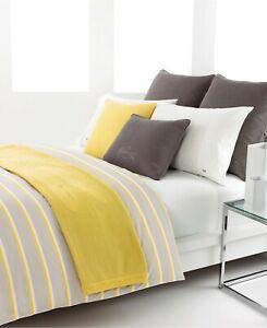 Lacoste Dellen Striped Reversible Yellow Gray Cotton QUEEN Duvet Cover
